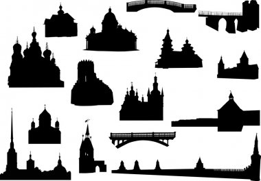 old buildings silhouettes collection