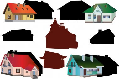 set of cottages isolated on white background