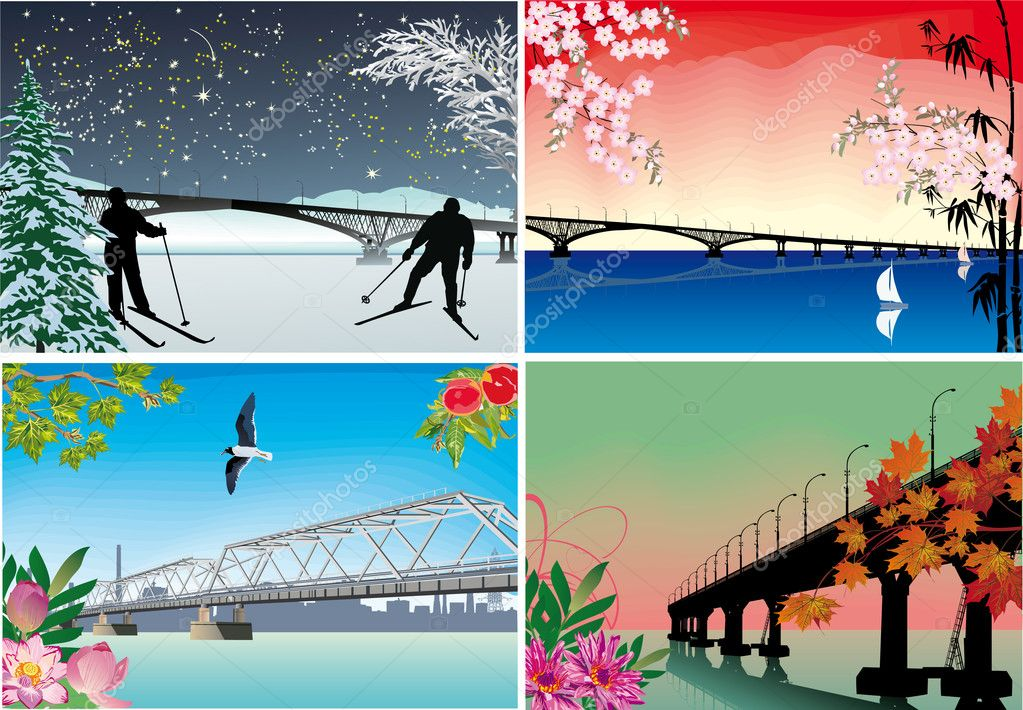 four seasons bridges illustration