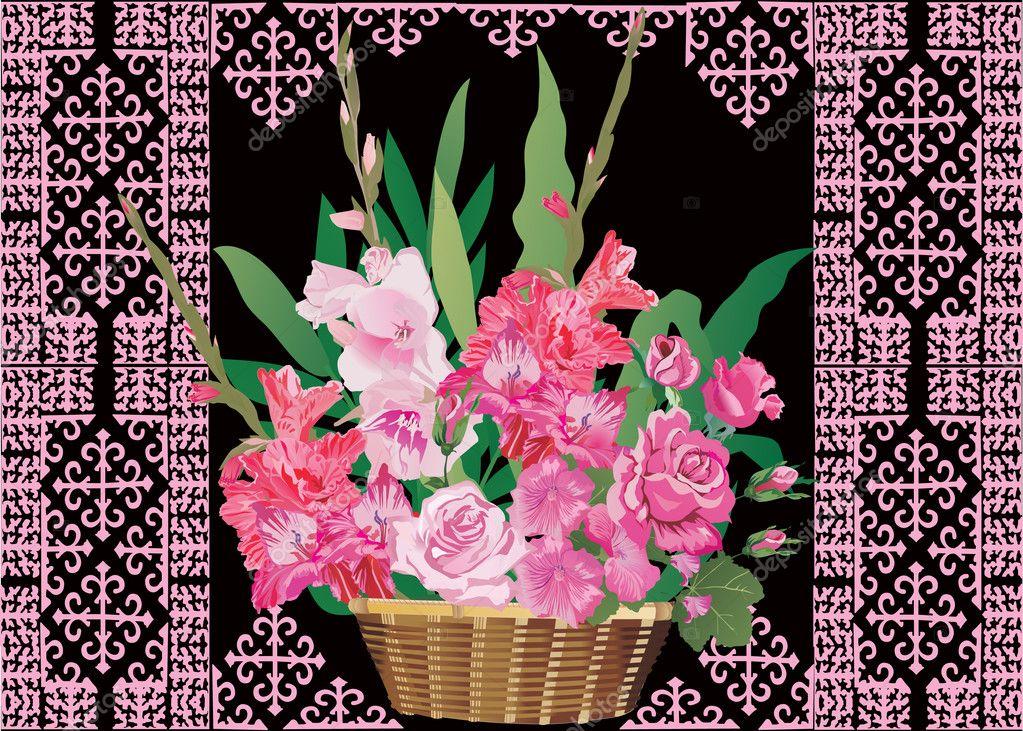 Gladiole im Korb auf schwarz — Stockvektor © Dr.PAS #6649161