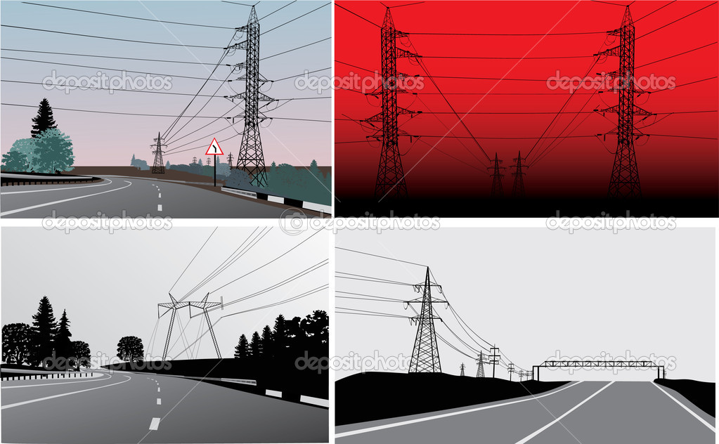 set of landscapes with electric lines
