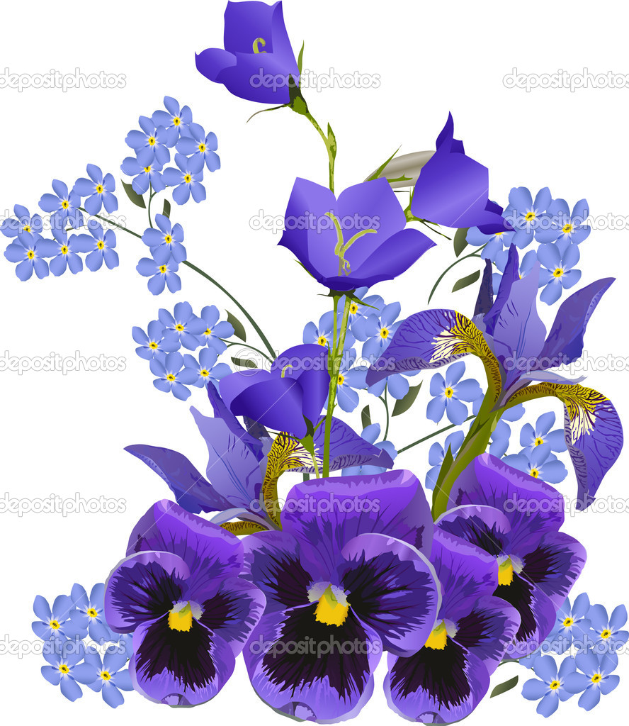big blue flowers bouquet on white