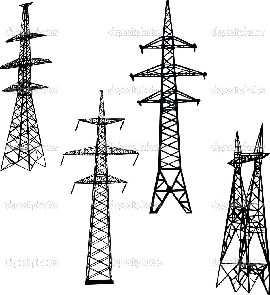 four electric towers illustration  u2014 stock vector  u00a9 dr pas