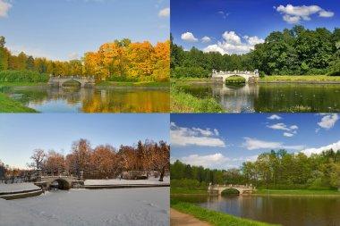 Four seasons of old bridge