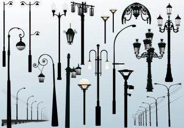 street lamps on light background