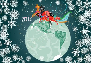 new year composition with horses and planet