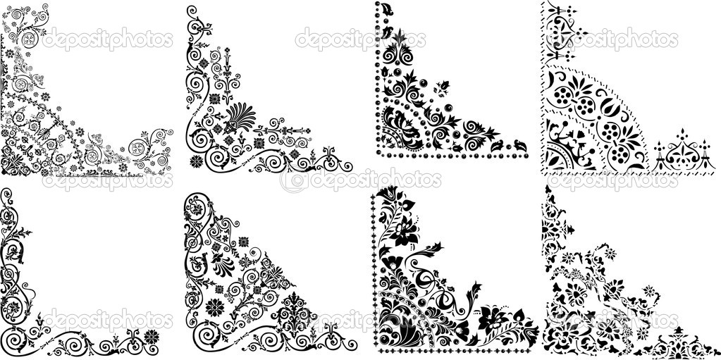 Eight black corner decorations on white  Stock Vector #6650021