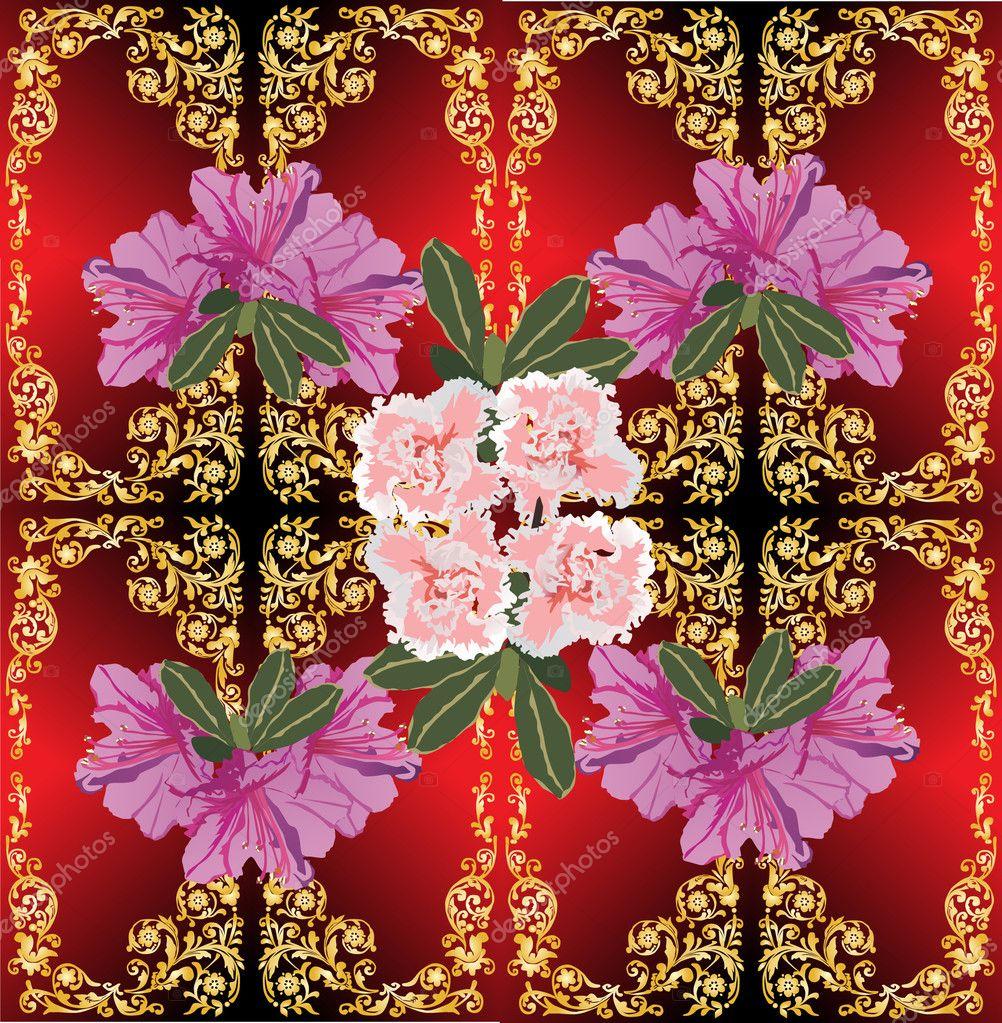 Ouro Decoração Com Flores Cor De Rosa No Vermelho