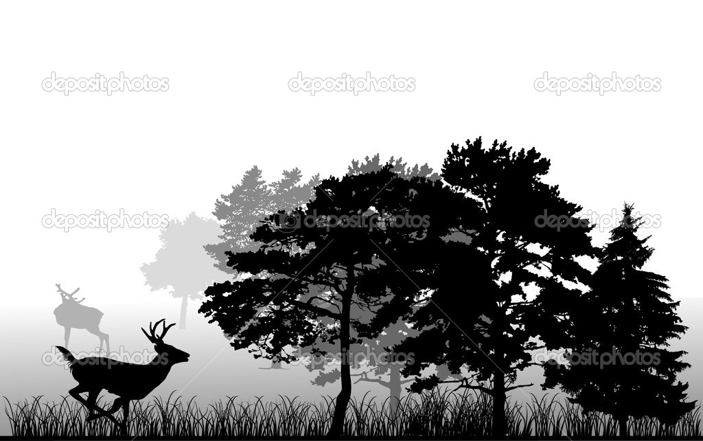 trees and running deer silhouette stock vector 6650491