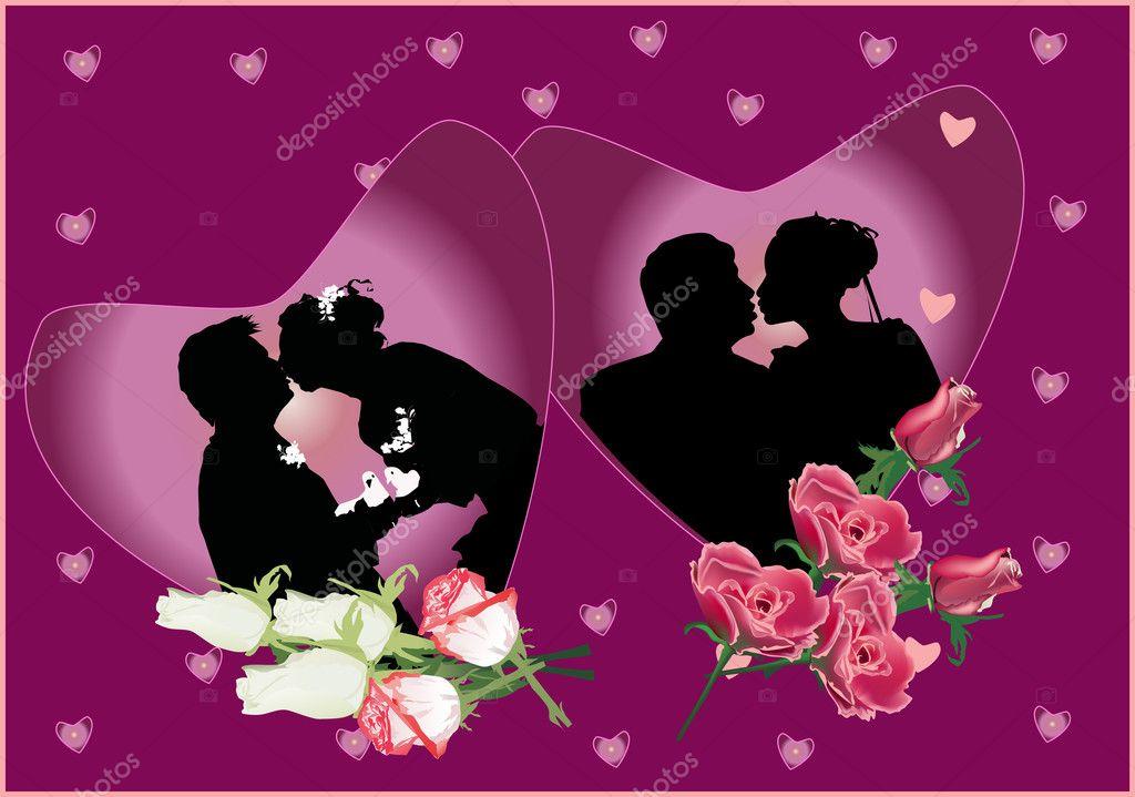 Wedding S In Heart Shape Frames Stock Vector
