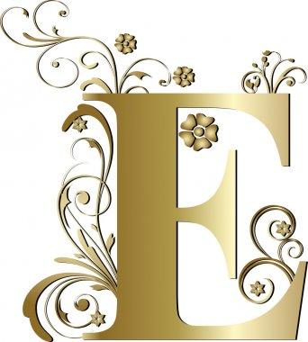 Capital letter E gold stock vector