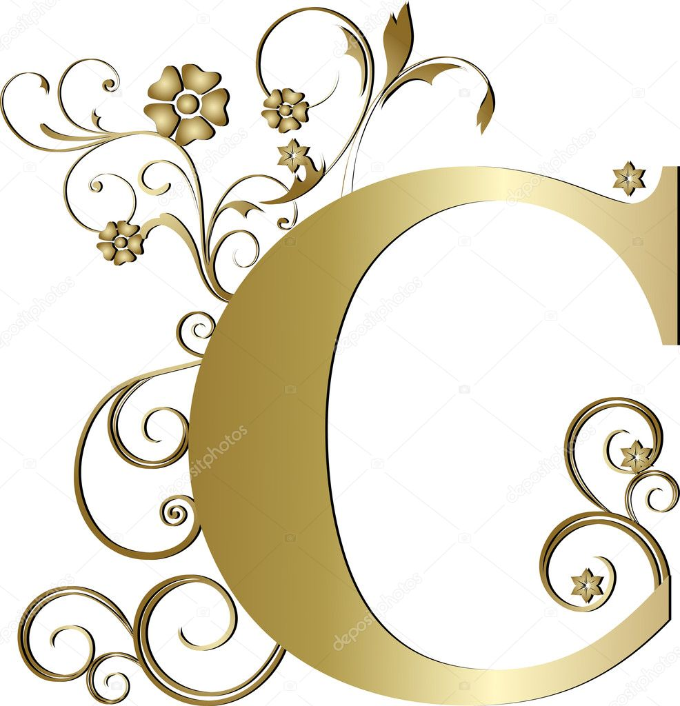 capital letter c gold  u2014 stock vector  u00a9 pdesign  6058358
