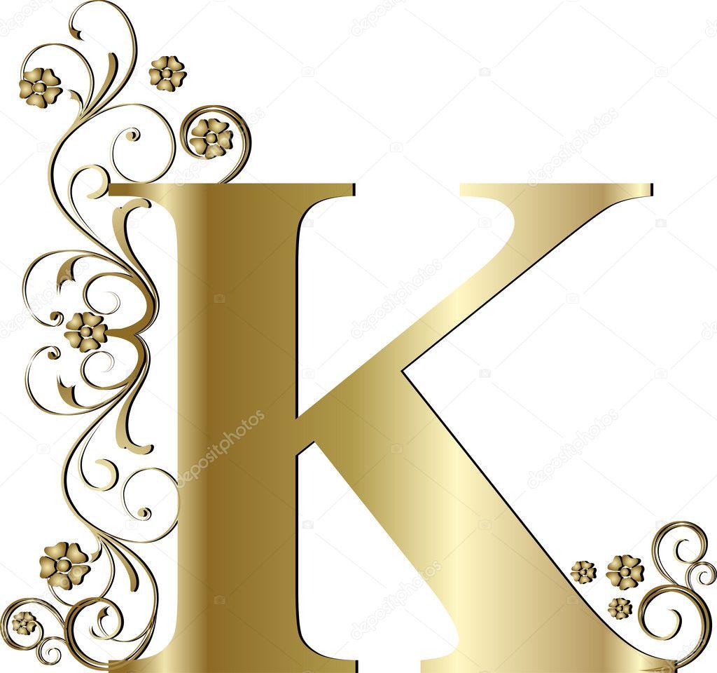 Capital Letter K Gold Stock Vector C Pdesign 6058374