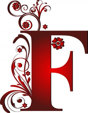 capital letter F red