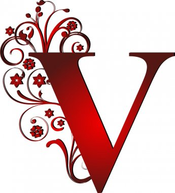 capital letter V red