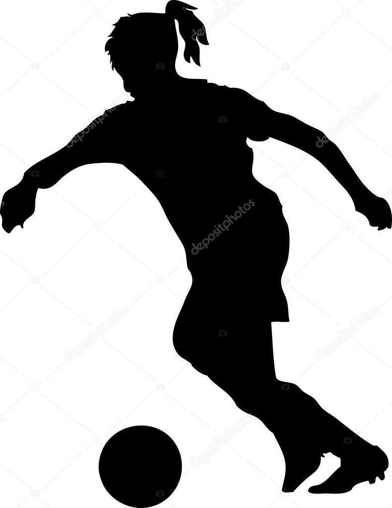 Girl Soccer Silhouette Vector Female soccer player �...