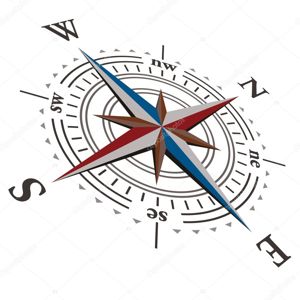 3 D Vector wind rose compass
