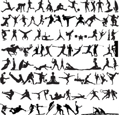 Set of Sports Silhouettes isolated on white stock vector