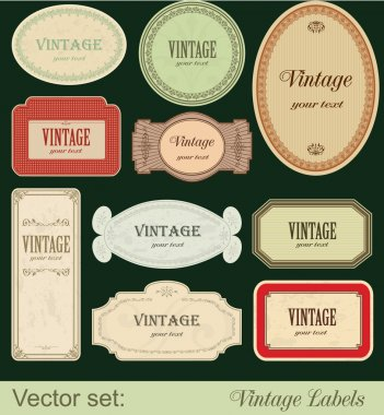 Vintage labels isolated on black background stock vector