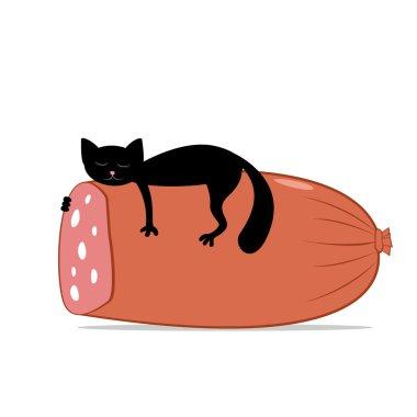 Black cat and huge sausage