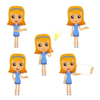 Set of funny cartoon housewife