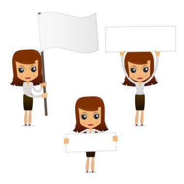 Set of funny cartoon businesswoman