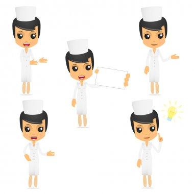 Set of funny cartoon nurse