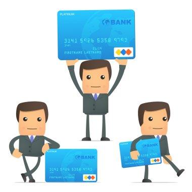 Funny cartoon businessman with credit card