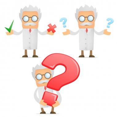 Funny cartoon scientist with a question mark
