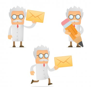 Funny cartoon scientist with a letter
