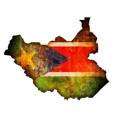 South sudan flag on globe map