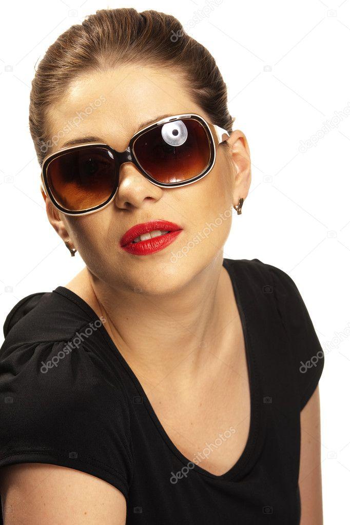 womanish portrait avec lunettes de soleil — Photographie sheftsoff ... 69ca2a5744c4