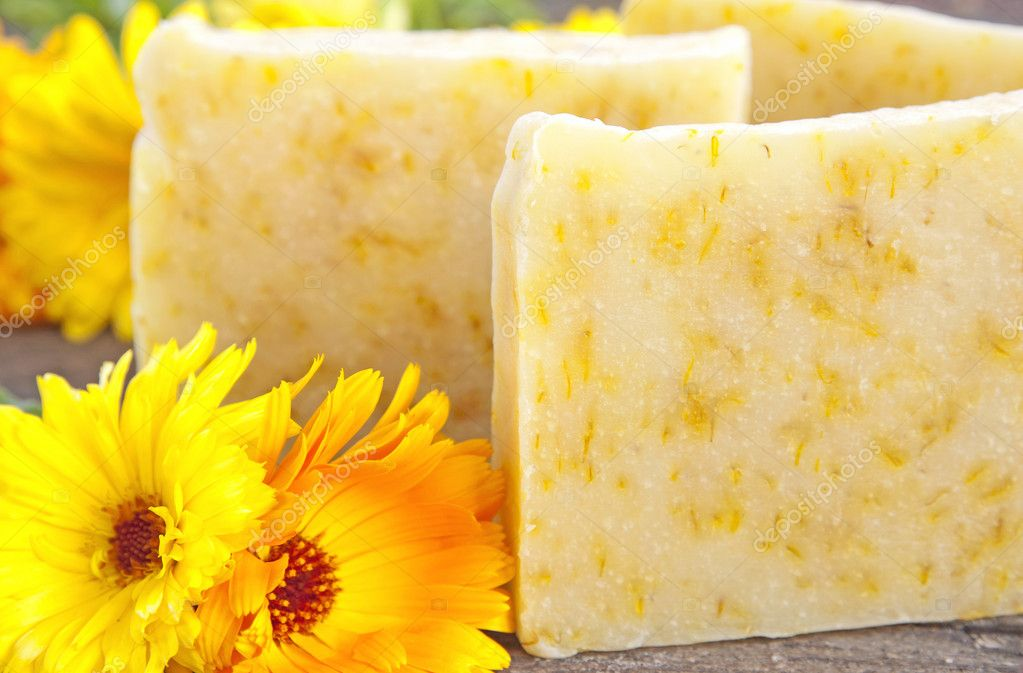 Home-made soap with marigold