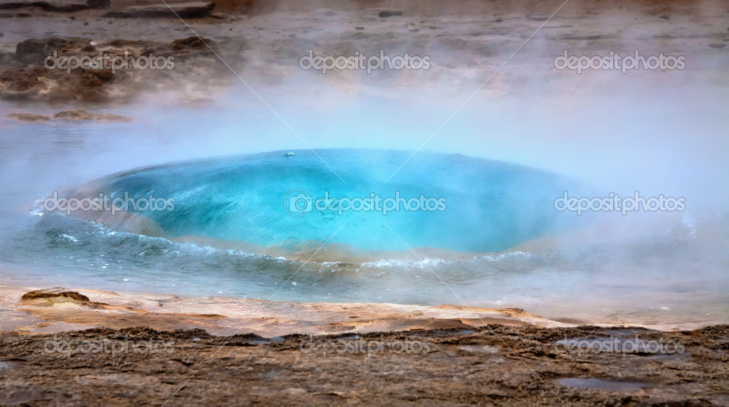 Beginning of Strokkur geyser eruption