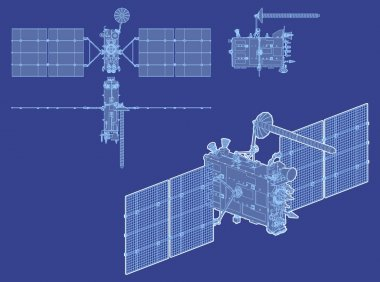 Vector hi-detailed GPS satellite isolated