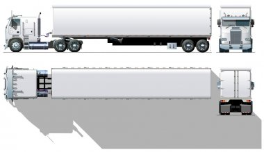 Vector hi-detailed commercial semi-truck
