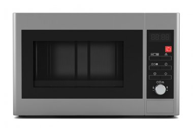 Grey microwave oven isolated on white background