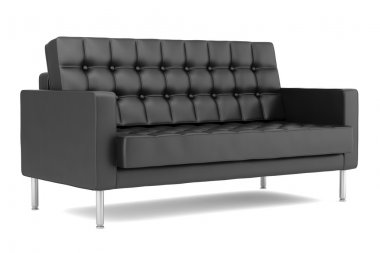 Modern black leather sofa isolated on white background