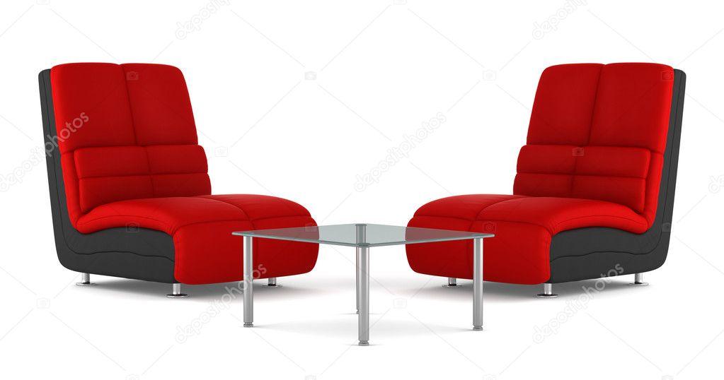 Dos Sillones De Cuero Moderno Negro Y Rojo Con Mesa