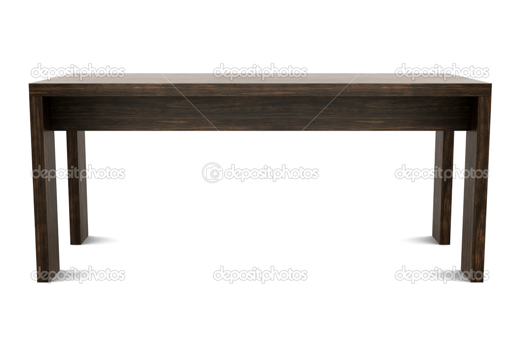 Modern brown wooden table isolated on white background