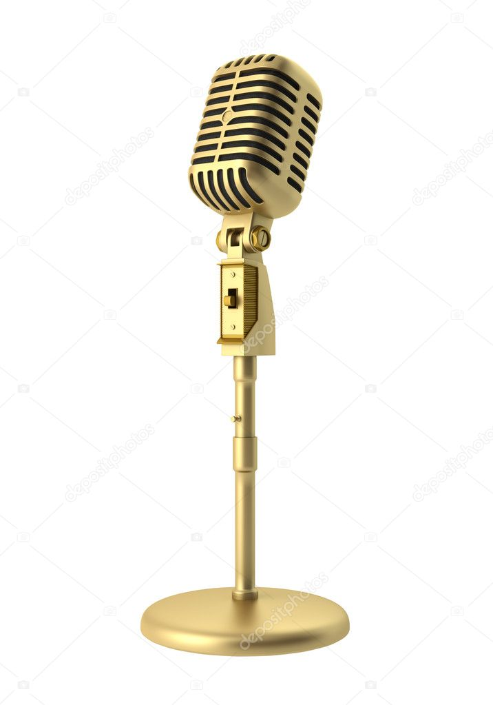 golden vintage microphone isolated on white background stock photo tiler84 6256231. Black Bedroom Furniture Sets. Home Design Ideas