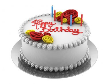 Round birthday cake with candles isolated on white background