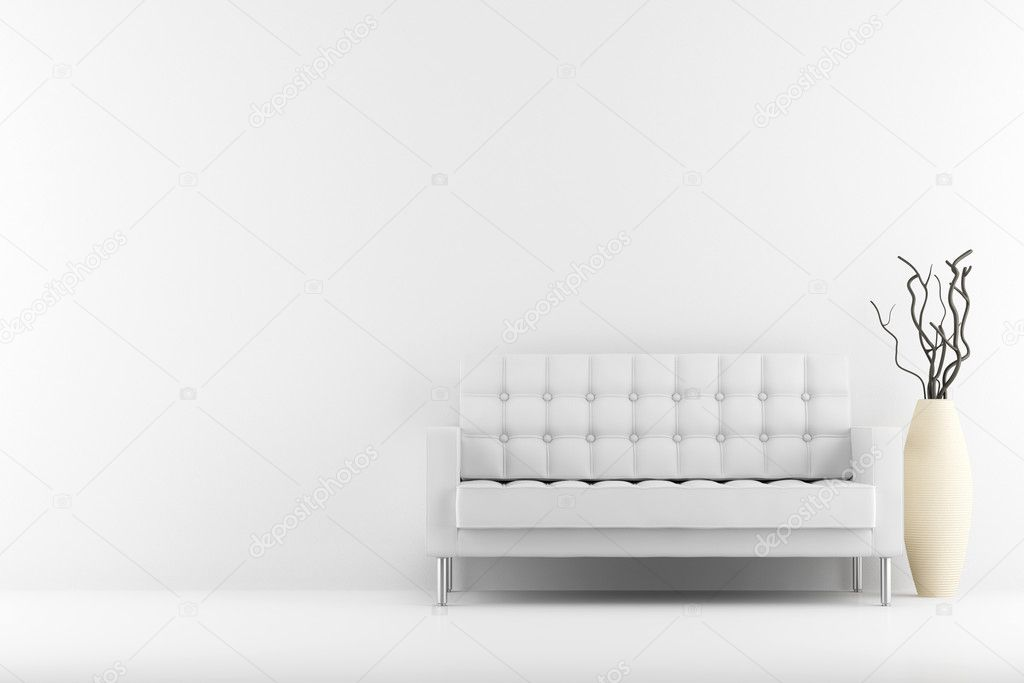 Magnificent Leather Couch And Vase With Dry Wood In Front Of White Wall Pabps2019 Chair Design Images Pabps2019Com