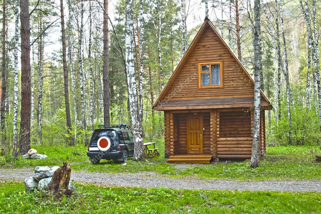 Wooden small house in a wood stock photo kosoff 5608396 for Mini wooden house