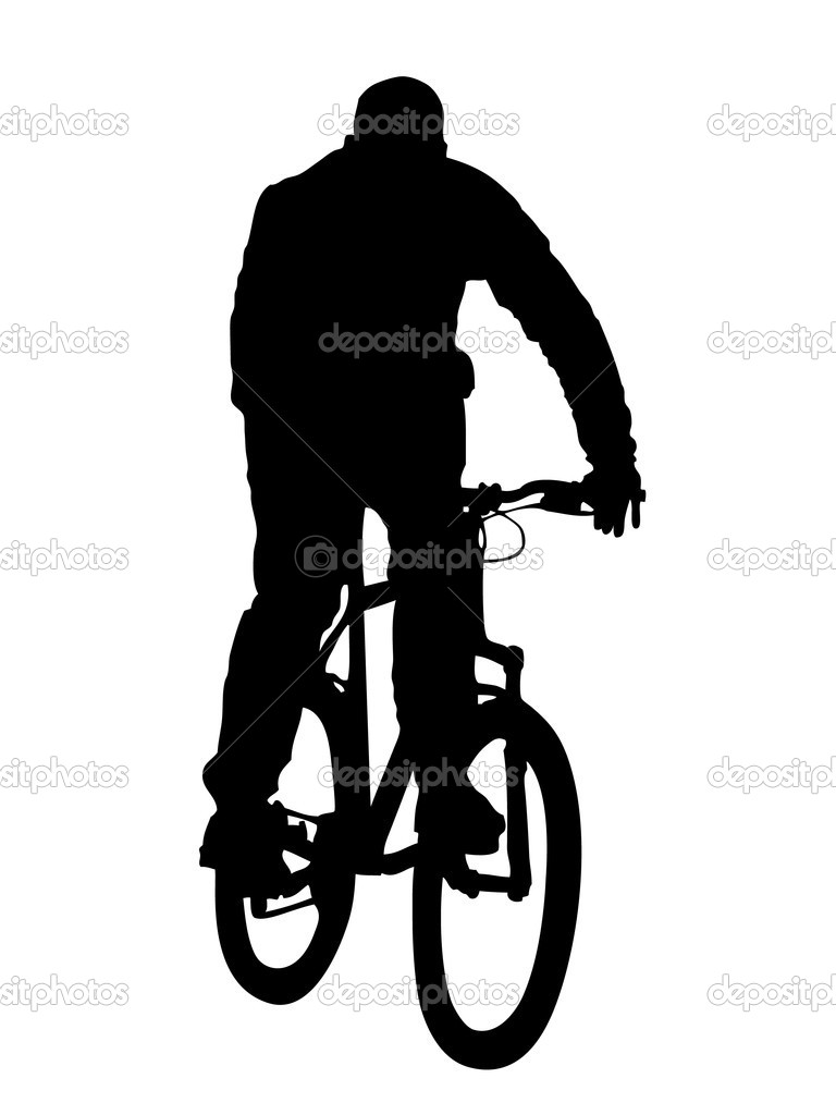 silhouette of mountain biker stock vector 6063844