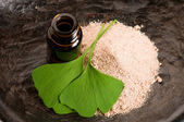 Fotografie Fresh leaves ginko biloba essential oil and powder - beauty trea