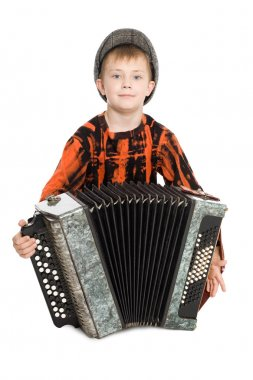 Boy playing the accordion.