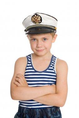 Cute boy in a sea cap.