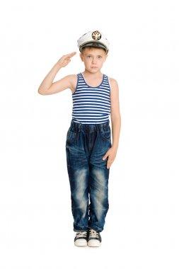 Boy in the sea cap salutes