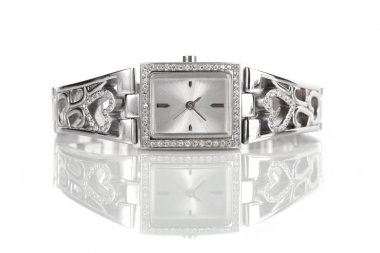 Female silver wrist watch with diamonds